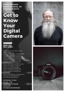 Saturday 11th May 2019 Photography Workshop 10 00am -1 00pm